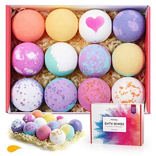 Homasy Bath Bombs, 12 Pcs Bath Bomb Gift Set with Natural Essential Oils, Shea Butter, Sea Salt, SPA Bubble Fizzies for Kids, Women, Mom, Girlfriend (12x2.5oz)