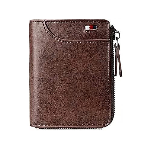 Tendaisy Reshline Men's RFID Blocking Zipper Wallet Multi Credit Card Holder Purse (Brown)