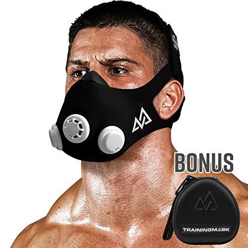 TRAININGMASK Training Mask - Workout Training Mask 2.0 with Case, Cardio Training Mask for Running, Cycling, and Exercise, Multi-Level Resistance, Black Mask, Medium