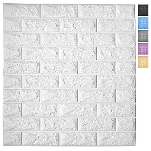 Art3d 5-Pack Self-Adhesive Foam Brick Wall Panels for Interior Wall Decor, White Brick Wallpaper, Covers 29 Sq.Ft