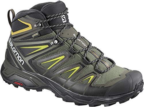 Salomon Men's X Ultra 3 MID GTX Hiking, Castor Gray/Black/Green Sulphur, 12