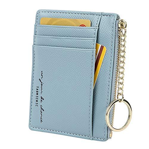 Women's 8 Cards Slim Minimalist Card Holder Coin Changes Purse Keychain Front Pocket Wallet, sky blue