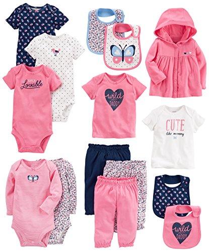 Carter's Baby Girls' 15-Piece Basic Essentials Set, Floral, Newborn