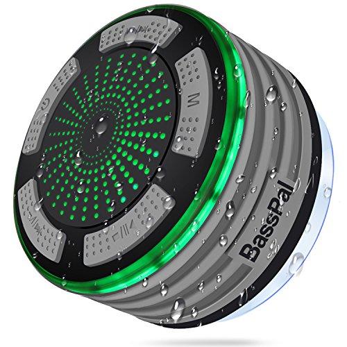 BassPal Shower Radios, IPX7 Waterproof Portable Wireless Bluetooth Speaker with LED Mood Lights, Super Bass HD Sound Shower, Pool, Beach, Kitchen&Outdoor