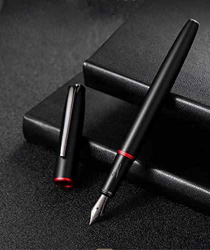 Picasso 916 Matte Black & Red Ring Fountain Pen with Box - Titanium Gray Extra Fine Nib