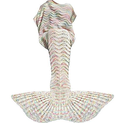 Fu Store Mermaid Tail Blanket Crochet Mermaid Blanket for Adult, Super Soft All Seasons Sofa Sleeping Blanket, Cool Birthday Wedding, 71 x 35 Inches, Colorful White