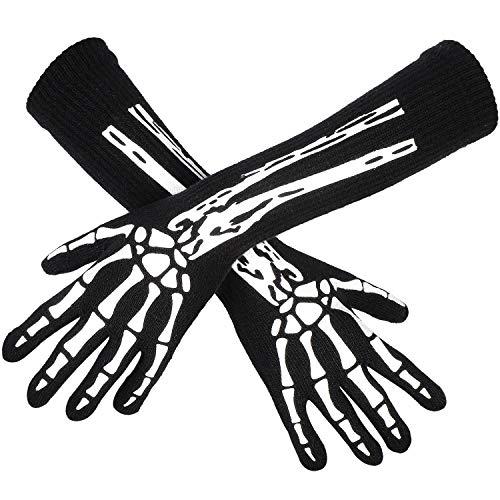 Cooraby Halloween Skeleton Gloves Female Glow in The Dark Costume Gloves