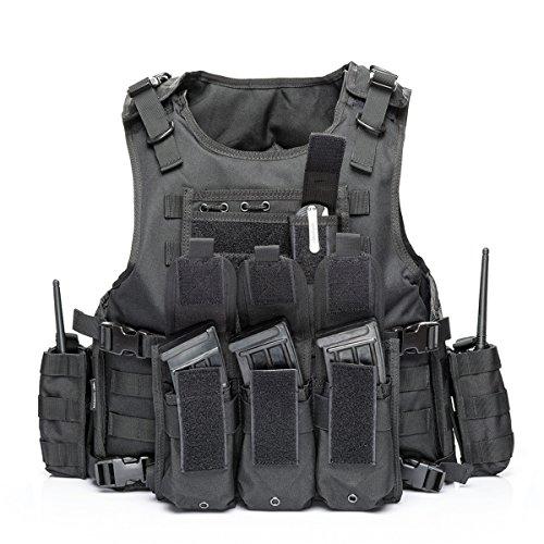 YAKEDA Tactical Vest Military Chest Rig Airsoft Swat Vest for Men(Black-1)