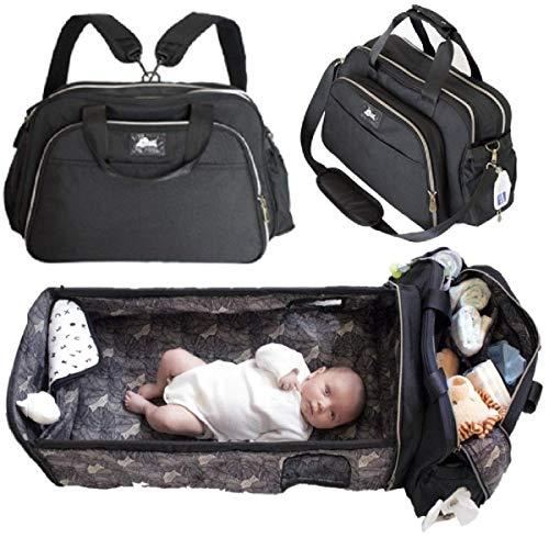 Laluka Travel Bassinet Portable Baby Bed - Large Diaper Bag Change Station Black