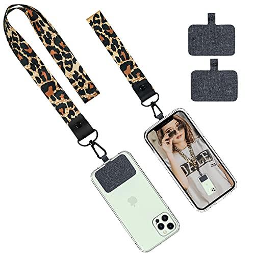 Delidigi Phone Lanyard Wrist Strap Stylish Leopard Pattern Neck Lanyard Wrist Strap Compatible with Most Smartphones for Women Girls (Leopard)