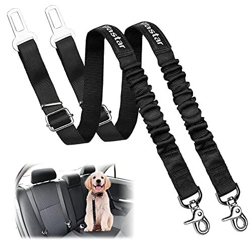 Vastar Dog Seat Belt Harness, 2 Packs Pet Dog Seat Belt Leash Adjustable Dog Cat Safety Leads Harness, Vehicle Car Seatbelt Harness for Pets with Elastic Nylon Bungee Buffer for Shock Attenuation