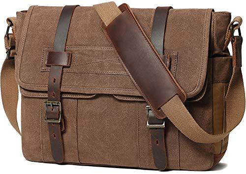 Messenger Bag for Men 15.6 Inch Rugged Waxed Canvas Laptop Bag Waterproof Genuine Leather Briefcase Satchel Bags for Men Large Work Computer Bag, Brown