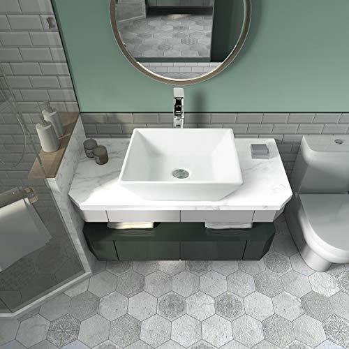 Sinber 16' x 16' White Square Ceramic Countertop Bathroom Vanity Vessel Sink