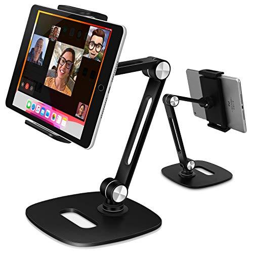 B-Land Adjustable Tablet Stand, Desktop Tablet Holder Mount Foldable Phone Stand with 360° Swivel Phone Clamp Mount Holder, Compatible with 4-13' Tablets/Phones,Nintendo Switch, Kindle (Black)
