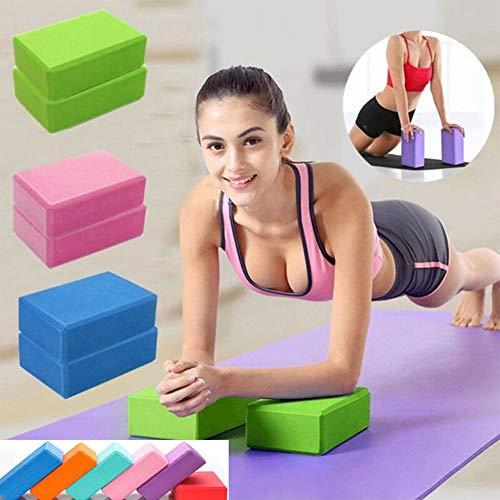 PowerLife Yoga Block Foam Brick Exercise Fitness Foam Set Workout Fitness Bolster Pillow Cushion EVA Gym Training Body Shaping 9 Colors