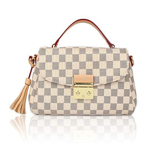 Herossy Checkered Shoulder Bags,Designer Purses PU Leather Crossbody Bags Fashion Handbags for Women (white)