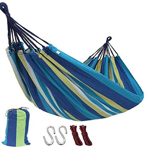 Outdoor Garden Camping Hammock,Portable Hammock for Patio Yard Garden Backyard Porch Travel (260x150cm/Blue)