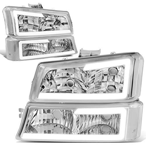 DNA Motoring HL-LB-CSIL03-CH-CL1 Chrome Housing 3D LED DRL Headlight Bumper Lamp Set Compatible with 03-07 Silverado