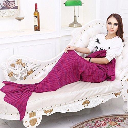 Pretty Handy Mermaid Tail Blanket Crochet Mermaid Blanket for Adult, All Seasons Sleeping Blankets Knitted Sofa Air Conditioning Blanket Sleeping Bags (Wine Red)