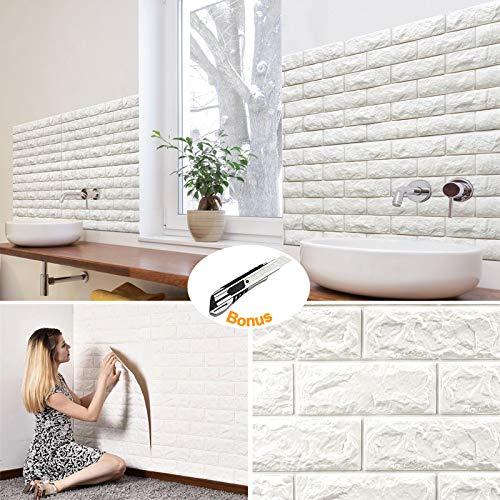 Brick Wall Panels (20Pcs) Peel and Stick Wallpaper Faux Stone Textured 3D Foam Wallpaper Tiles White for Livingroom Bedroom TV Background Home Decor DIY – 116.26 sq.Feet & 1pcs Utility Knife