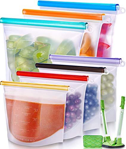 Reusable Silicone Food Bag (7 Pack) Reusable Silicone Food Storage Bag - Silicone Storage Bags Reusable Silicone Bags Reusable Storage - Reusable Silicone Food Storage Bags Reusable Silicone Food Bags
