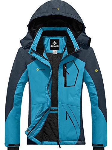 GEMYSE Women's Mountain Waterproof Ski Snow Jacket Winter Windproof Rain Jacket (Acid Blue,Medium)