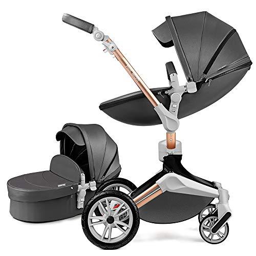 Baby Stroller 360 Rotation Function,Hot Mom Baby Carriage Pu Leather Pushchair Pram 2020,Dark Grey