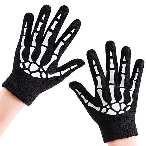 Cooraby 3 Pairs Kids Skeleton Touchscreen Gloves Halloween Glow in The Dark Full Finger Skull Bone Gloves