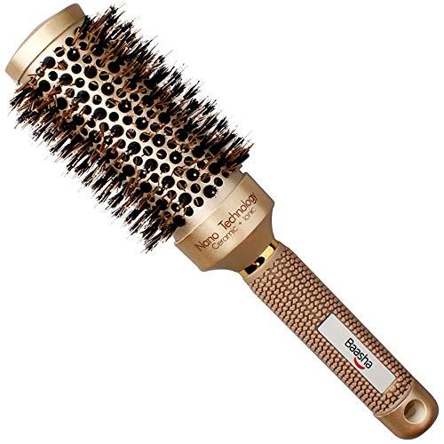 Baasha Medium Round Brush 2 Inch, Boar Hair Brush Round for Women, Professional Ceramic Barrel Hair Brush With Boar Bristle, Round Brushs for Blow Drying Medium Length, Roller Round Brushs for Flip