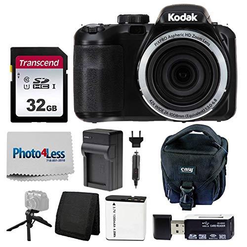 Kodak PIXPRO AZ421 Digital Camera (Black) + Point & Shoot Camera Case + Transcend 32GB SD Memory Card + Extra Battery & Charger + USB Card Reader + Table Tripod + Accessories