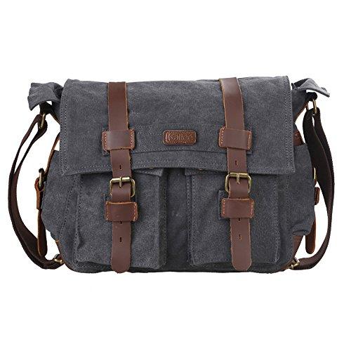 Kattee British Style Retro Unisex Canvas Leather Messenger Shoulder Bag Fits 14.7' Laptop (Dark Grey)