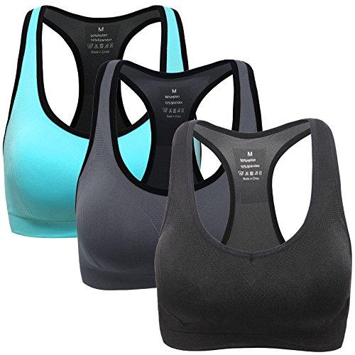 Mirity Women Racerback Sports Bras - High Impact Workout Gym Activewear Bra Color Black Grey Blue Size L, 3 Pack