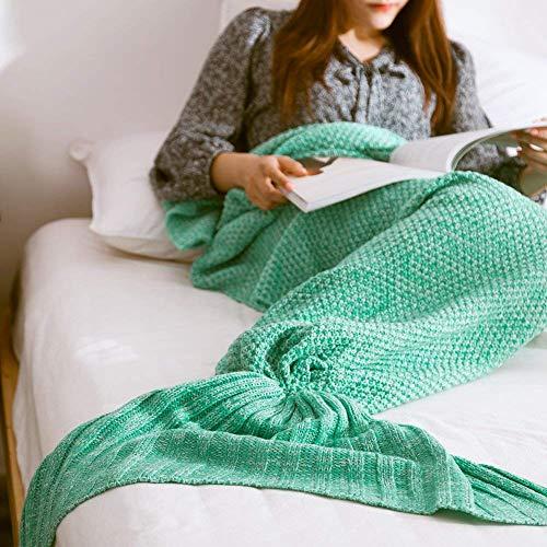 [Holidayli]Holidayli Mermaid Blankets, Handmade Knitted Mermaid Tail Blankets for Adults Girls All Season Party [並行輸入品]