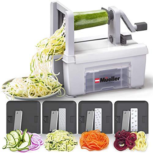 Mueller Pro Series Multi-Blade Spiralizer Vegetable Slicer Zester, Superior Design, Professional Quality, Only 4-Blade to Make Round Veggie Pasta, Not Flat Julienne Noodles