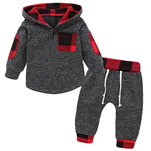 SANMIO Infant Toddler Baby Boys Girls Clothes Hoodie Outfit Classic Plaid Sweatshirt +Pants Clothes Set Kids
