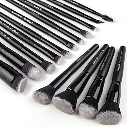 Zoreya Makeup Brushes 15Pcs Makeup Brush Set Premium Synthetic Kabuki Brush Cosmetics Foundation Concealers Powder Blush Blending Face Eye Shadows Black Brush Sets (Black)