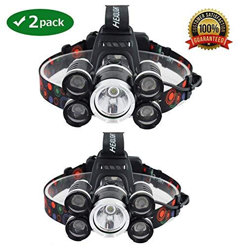 NEWEST And BEST Version Waterproof Headlamp Waterproof 12000 Lumen 5 Led Headlamp XML T6+4Q5 Head Lamp Powerful Led Headlight,Waterproof Camping, Hiking, Hunting,Fishing (2 Pack-Silver)