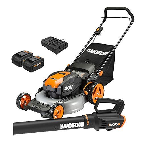 WORX WG960 20-inch 40V(5.0Ah) WG751 Cordless Lawn Mower and WG547.9 Power Share Cordless Turbine Blower