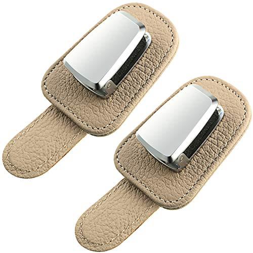 2 Packs Car Glasses Holder Universal Car Visor Sunglasses Holder Clip Leather Eyeglasses Hanger and Ticket Card Clip Eyeglasses Mount for Car (Beige)