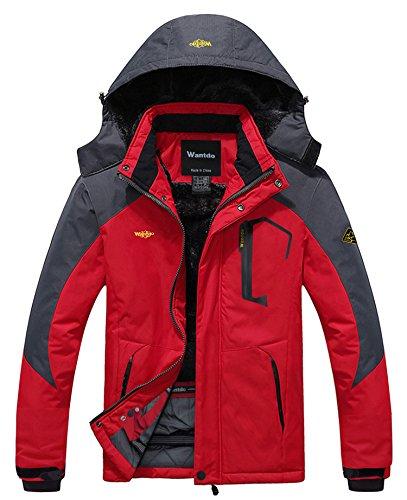 Wantdo Men's Mountain Waterproof Fleece Ski Jacket Windproof Rain Jacket, Red, 2XL