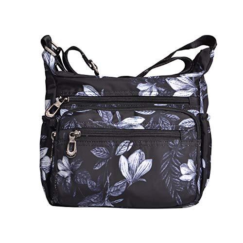 NOTAG Shoulder Bags for Women Nylon Crossbody Bags Waterproof Lightweight Messenger Purses and Handbags (Black)