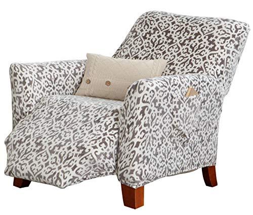 Great Bay Home Velvet Plush Stretch Recliner Slipcover. Velvet Recliner Furniture Protector, Soft Anti-Slip, High Stretch (Recliner, Wild Dove Grey - Snowflake)