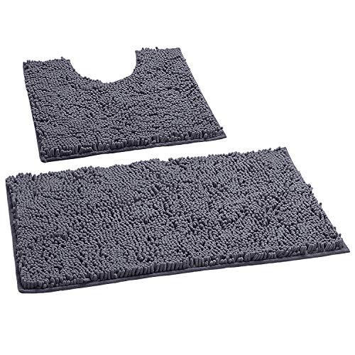 Bathroom Rugs by LuxUrux, Luxury Chenille 2-Piece Bath Mat Set, Soft Plush Anti-Slip Bath Rugs + U Shape Contoured Gray Bathroom Rugs.1'' Microfiber Shaggy Carpet, Super Absorbent, Dark Grey.