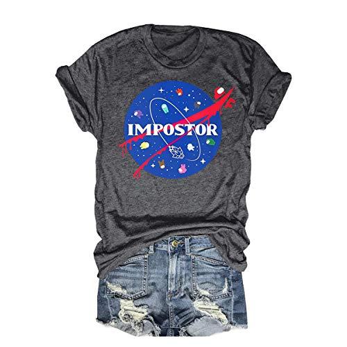 Womens Funny Impostor Among us Tshirt Among us Game Graphic Tee Tops