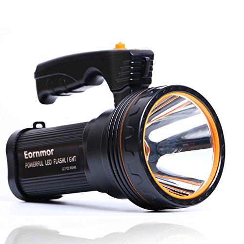 Eornmor Outdoor Handheld Portable Flashlight 6000 Lumens USB Rechargeable Super Bright LED spotlight Torch Searchlight Multi-function Long Shots Lamp, 9000ma 35W (Black)