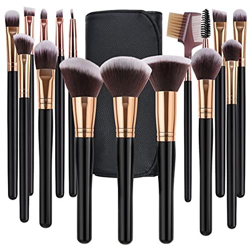 SOLVE Makeup Brushes 16 Pcs Premium Synthetic Foundation Blending Blush Concealer Eye Shadow Makeup Brush Set,Leather Travel Makeup bag Included, Black with Rose Gold