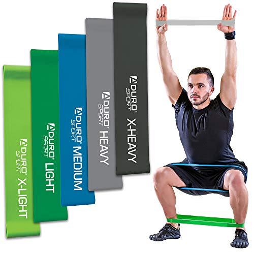 Aduro Sport Resistance Bands Set Exercise Workout Bands Loops 3 or 5 Resistance Levels Pack Set for Men Women Abs Leg