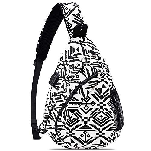 HOLYBIRD Sling Backpack, Multipurpose chest Crossbody Shoulder Bag Travel Hiking Daypack for women with YKK metal zipper (White&Black)
