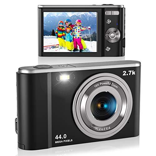 Digital Camera, Lecran FHD 2.7K 44.0 Mega Pixels Vlogging Camera with 16X Digital Zoom, 2.88' IPS Screen, Compact Portable Mini Cameras for Students, Teens, Kids (Black)