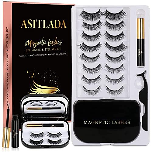 Magnetic Lashes-Magnetic Eyelashes - Magnetic Lashes With Eyeliner - 2 Tubes of Magnetic Eyeliner with Tweezers & Mirror Case - Reusable Natural(10Pairs)